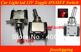 Wholesale Rocker Led - HOT SALE Car Auto Cover Rocker Switch Control On Off RED LED SPST Toggle Switch 12v RED Light illuminated Marine Toggle Switch
