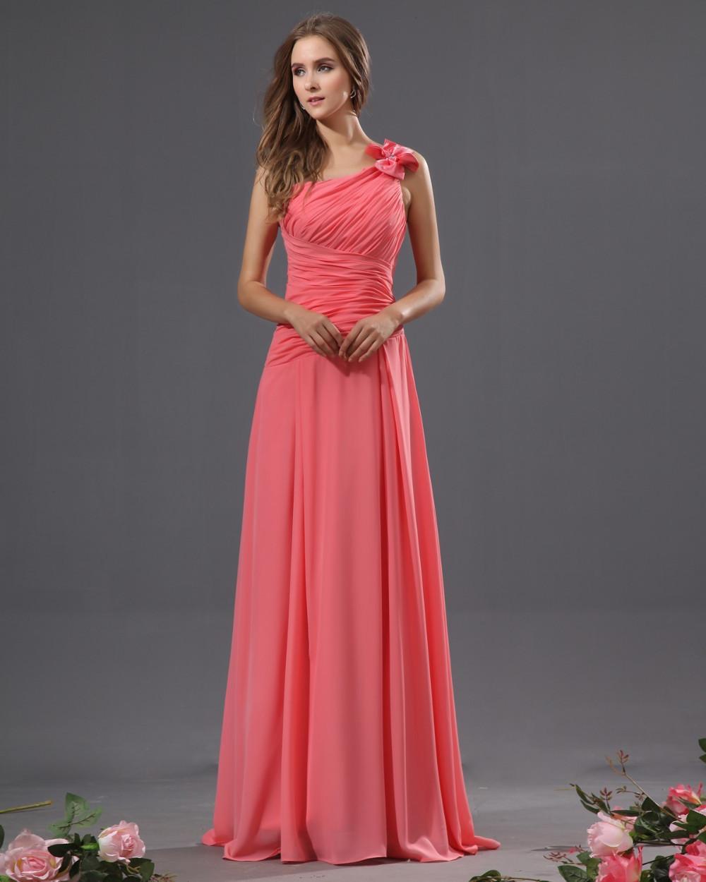 Gratis frakt ny ankomst korall chiffong golv längd A-line en axel pleat billiga brudtärna klänningar formell klänning