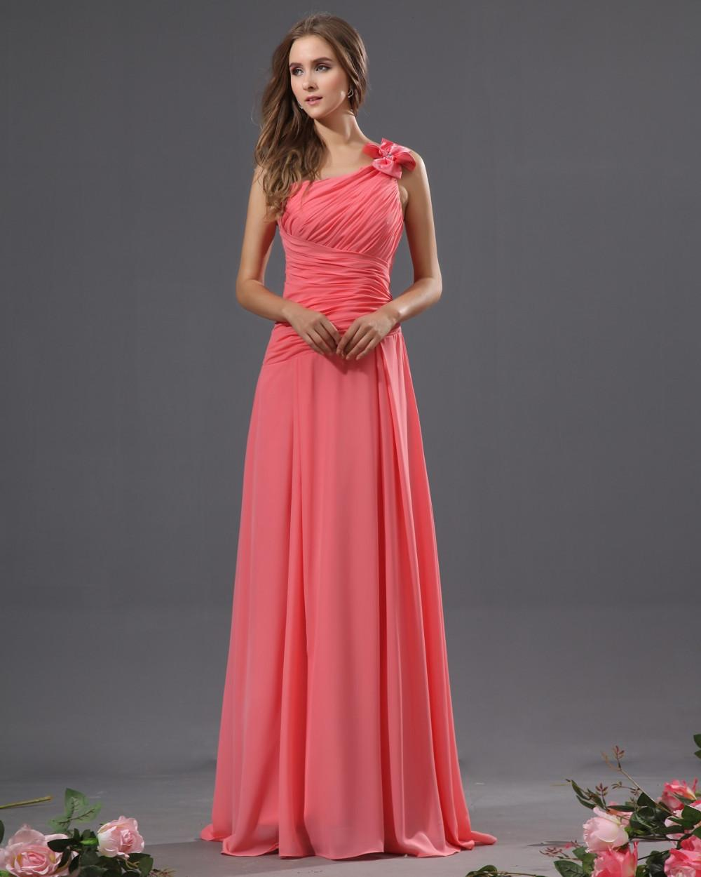 New arrival Coral chiffon Floor Length A-line One Shoulder Pleat Cheap Bridesmaid Dresses Formal Dress