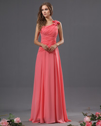 green one shoulder flower chiffon Canada - Free shipping New arrival Coral chiffon Floor Length A-line One Shoulder Pleat Cheap Bridesmaid Dresses Formal Dress