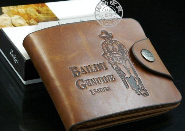 Al por mayor - Monedero de cuero a estrenar Cowboy hombres bolsillos tarjeta embrague Cente Bifold monedero