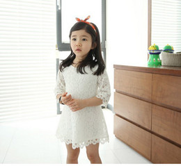 Wholesale Children S Summer Clothes Sale - Hot sale! 2014 New Fashion Korean Children Clothing Beautiful White Girls Lace Dress Princess Mini Dresses Kid Baby Clothes