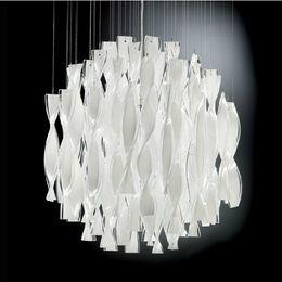 Wholesale Large Led Pendant Lights - Hybrid-type stair large chandelier Modern glass pendant light Fashion brief lighting fixture Dining room PL190