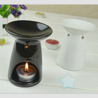 Wholesale Black White Candle Holders - Dia 8*10cm Fashion Black White Ceramic Aroma Oil Burner Simple Fragrance Container with Candle Holder DC821