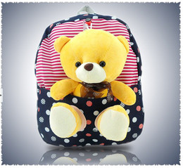 Wholesale plush bear backpack - Plush Bear Backpack Children Schoolbag Satchel Baby Shoulders Bags Gift Bag 3 Colors
