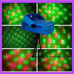 Wholesale Top Dj Lights - Top sale mini Green Red Disco DJ Xmas Party Stage laser Lighting 6in1 effects Projector Tripod free drop shipping