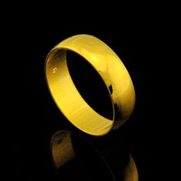 Wholesale 14k Gold Men Ring Band - Fine High quality 14K Solid Gold Wedding Rings for Couple Women and Men Wedding Jewelry Free shipping