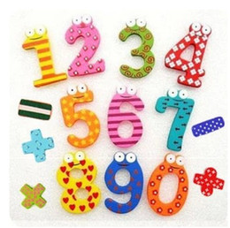 Wholesale Early Education - 15pcs Sets Wooden Wooden Colorful Number Fridge Magnets Refrigerator sticker Baby Early Education Learning Free Shipping