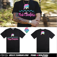 Wholesale Pyrex Kanye - Pink dolphin dolphins Summer Brand fashion Print Short sleeve Mens 3 color 100% Cotton tee pyrex vision kanye west T-shirts Size S--XXXL