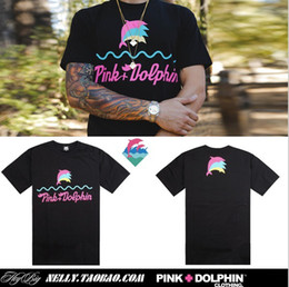 Wholesale Pink Dolphin T Shirt Xl - Pink dolphin dolphins Summer Brand fashion Print Short sleeve Mens 3 color 100% Cotton tee pyrex vision kanye west T-shirts Size S--XXXL