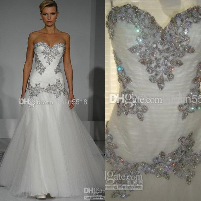 Discount Cheap Bling Beaded Crystal Tulle Wedding Dress Sweetheart Chapel Train Bridal Gowns 2014 New Backless Sheer Beach Dresses Lace Up