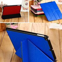 Wholesale Crazy Horse Skin Magnetic - Transformers Crazy Horse Multi Folding Stand Leather Case Magnetic Smart Cover for iPad Air 5 2 3 4 Mini Mini2 Retina With Auto Sleep Wake