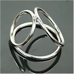 Wholesale Men New Sex Toys - New 2014 Sex Toys Metal Cock Ring Stainless Steel Penis Ring 3-Ring sex ring Cock Cage Cockring Penis sleeve Sex Toys For Man Free Shipping