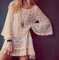 boho saçak elbisesi toptan satış-Sıcak Vintage Hippie Boho Çan Kollu Çingene Festivali Fringe Dantel Mini Elbise Tops V