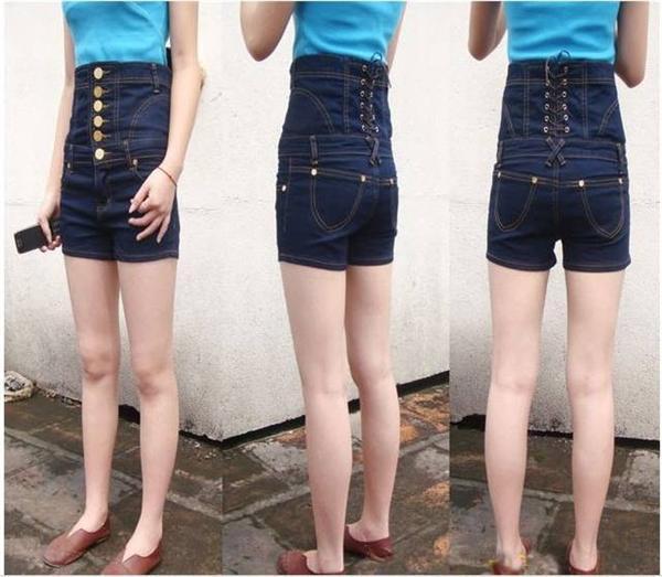 2017 Women Bandage Back Sexy Shorts High Rise Denim Jeans Shorts ...