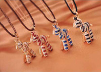 Wholesale Girls Wooden Necklace - Fashion childwhood wooden horse sweater chain Fancy coloured diamond necklace for girl #K0395