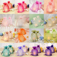 Wholesale Decorating Organza - Wedding Favor Candy Pouches Chocolate Organza Bags drawstring 12 colors and 9 size Packaging Bag wine bottle decorate Packing Case Gift Bag