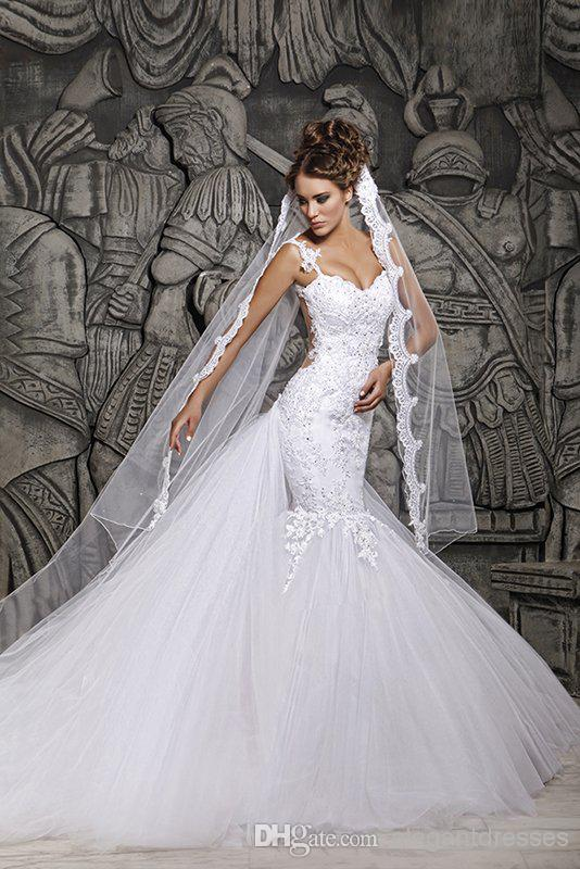 Custom Made 2021 Beautiful Court Train Illusion Transparent Back Beaded Lace Mermaid Spring Wedding Dresses Bridal Gowns d41