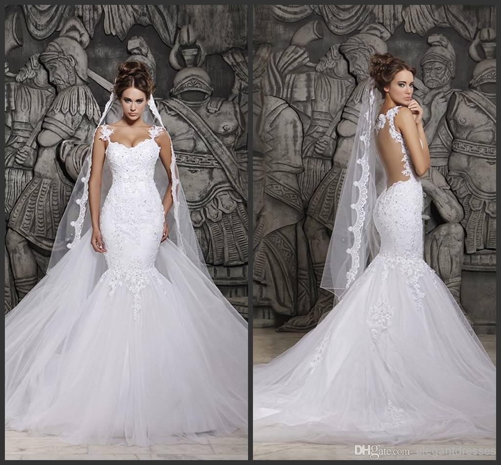Custom Made 2015 Beautiful Court Train Illusion Transparent Back Beaded  Lace Mermaid Spring Wedding Dresses Bridal Gowns D41 Cheap Mermaid Style  Wedding ... 5560114aea37