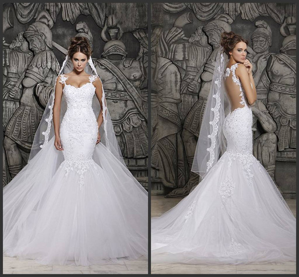 top popular Custom Made 2019 Beautiful Court Train Illusion Transparent Back Beaded Lace Mermaid Spring Wedding Dresses Bridal Gowns d41 2020