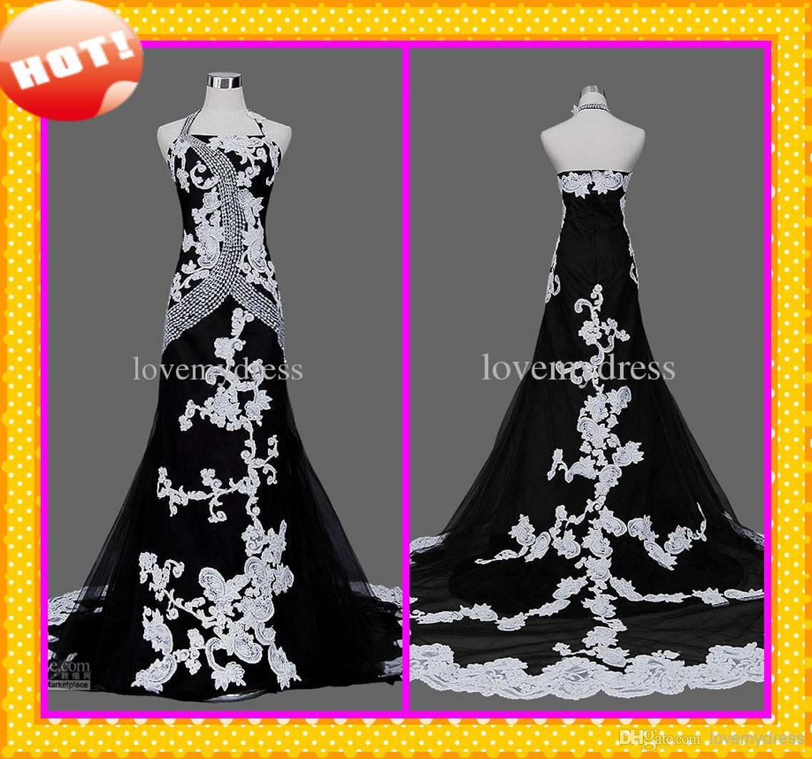 Wedding Dress White Glitter: 2016 Fashion Design Black And White Halter Appliques