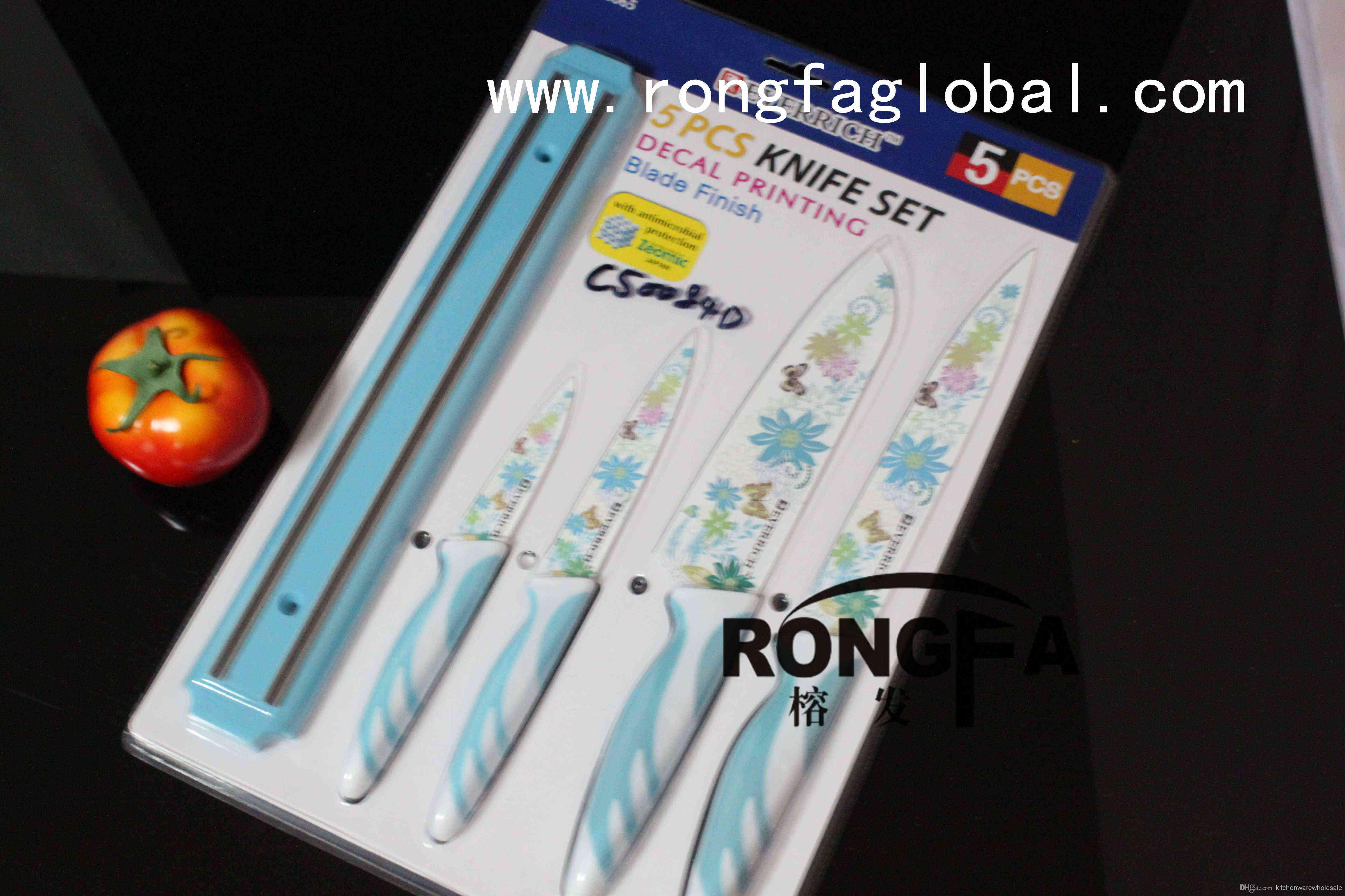 everrich color knife set with magnet knife rack decal printing