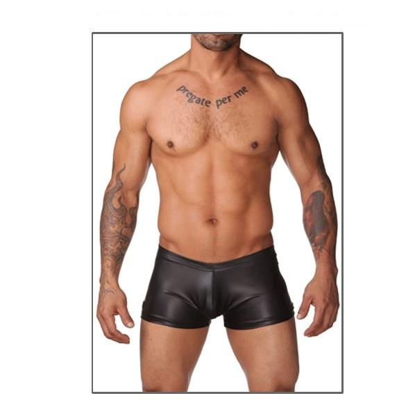 Free Shipping Men's Sex Black Leather Latex Boxer Trunks Underwear, sexy Male Lingerie,Sexy Boxer Shorts C22