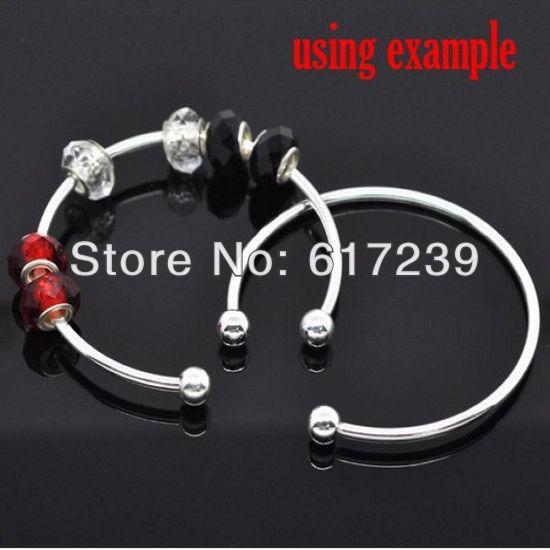 50pcs/lot 925 Silver Plated Smooth Bangle Bracelets Fit European Charms Beads Ending Screw Balls Screw End Cuff Bangle