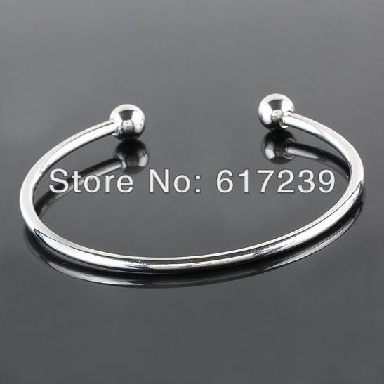 925 Silver Plated Smooth Bangle Bracelets Fit European Charms Beads Ending Screw Balls Screw End Cuff Bangle
