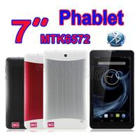 веб-камера в середине планшета оптовых-Новый 7-дюймовый фаблет MTK6572 двухъядерный 3G WCDMA телефонный звонок планшетный ПК Android 4.2 Dual SIM веб-камера Wi-Fi Bluetooth GPS MID 512 МБ 4 ГБ бесплатная DHL