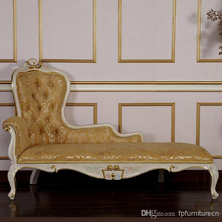 Delightful Palace Royal Furniture,french Louis Style Furniture,solid Wood Hand Carving  Cracking Paint Chaise Lounge  Free Shipping