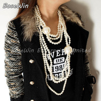 Wholesale Long Pearl Necklace Designs - 2014 New Brand Design Fashion Exaggerated Multilayer Pearl Long Necklace Statement Jewelry 3 Colors Free Shipping CE1788