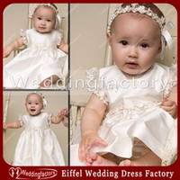 Wholesale Custom Made Baptism Gowns - High Quality Summer Lace Appliques Christening Gowns Baptism Dress Short Sleeves Taffeta A Line Jewel Babies First Communion Dresses