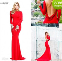Wholesale Buy Red White Dress - 2014 New Collection Red Long Sleeves Evening Dresses Formal Gowns With Luxury Beading Backless Buy One Dress Get One Bracelet Gift Free