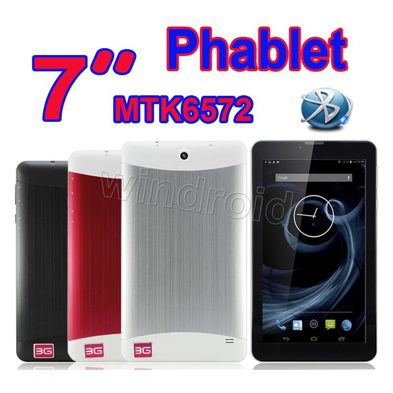 7 Inch MTK6572 Dual Core Phablet Dual SIM 3G Phone Call Bluetooth GPS 1024*600 HD Capacitive Android 4.2 dual camera tablet pc DHL 10pcs