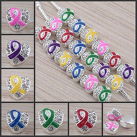 Wholesale Zinc Spacer Beads - 50pcs 12x13mm Crystal Enamel Ribbon Breast Cancer Awareness Heart Charm Spacer Beads fit European Jewelry Findings