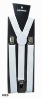 Wholesale White Clip Suspenders - Clip-on Adjustable Unisex White Braces Suspenders High quality Y Back Style Suspenders 9 Colors Available DCE6*1