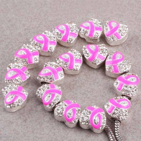 30pcs 12x13mm Silver Crystal pink Enamel Ribbon Breast Cancer Awareness Heart Charm Spacer Beads fit European Jewelry Findings