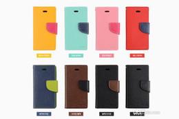 Wholesale Mercury Flip Case - Mercury Wallet leather PU TPU Hybrid Soft Case Folio Flip Cover for iPhone 4 4s 5 5s SE 5c 6 6s 7 Plus with Package