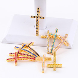 Wholesale Gold Tone Bracelet Cross - 50PCS Gold Tone Crystal Rhinestones Sideways Curved cross Connector beads making Bracelet Findings For DIY Jewelry 25X48mm