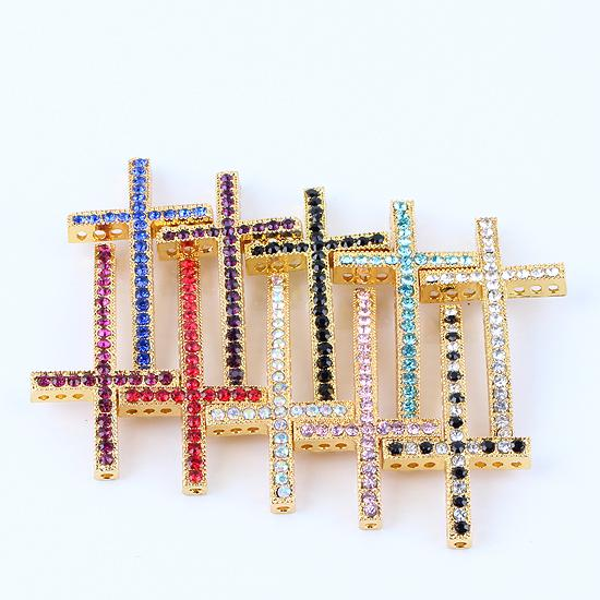 Gold Tone Crystal Rhinestones Sideways Curved cross Connector beads making Bracelet Findings For DIY Jewelry 25X48mm