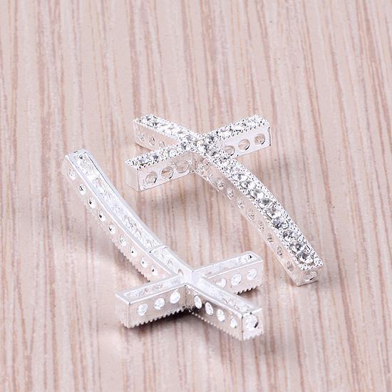 Посеребренные Кристалл стразы боком изогнутые крест разъем бусины делая браслет ювелирных изделий 25x48mm