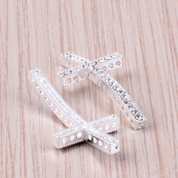 Wholesale Silver Connector Beads Rhinestones - 30PCS Silver Plated white Crystal Rhinestones Sideways Curved cross Connector beads making Bracelet Jewelry Findings 25X48mm