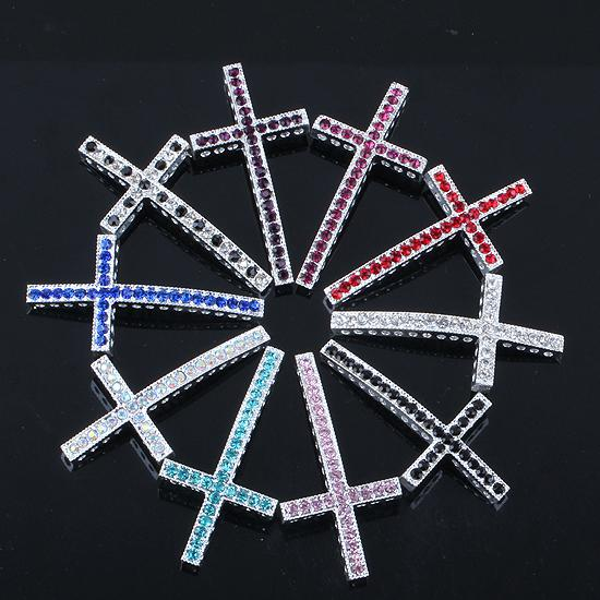 Silver Plated Crystal Rhinestones Sideways Curved cross Connector beads making Bracelet Jewelry Findings 25X48mm