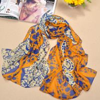 Wholesale Chiffon Flower Material - Fast Delivery Gorgeous Fashion Lady's Chiffon Scarf Leaf And Flower Design Scarves Sarongs Upscale Material 4 Colors
