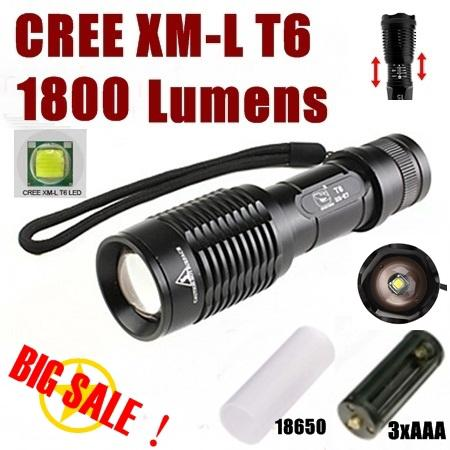 High Power Torch Zoom Adjustable Flashlight CREE XM-L T6 1800Lumens +Battery /charger -Free shipping