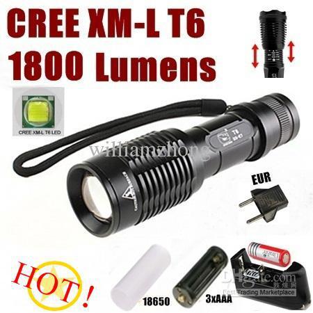 CREE XM-L T6 1800Lumens Haute Puissance Torche Zoom Lampe De Poche Réglable Torche + Batterie / chargeur - Livraison Gratuite