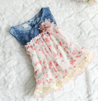 Wholesale Cotton Denim Girls Dress - new fashion summer girls denim Tank Dress girls lace dress girls vest dresses baby flower dresses girl princess dress 4pc lot, 2-5T, melee