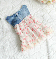 Wholesale Denim Girls Striped Dress - fedex dhl ems ship new summer girls denim Tank Dress girls lace dress girls vest dresses baby flower dresses girl princess dress 2-5T, melee