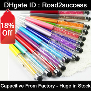 Wholesale 2 in crystal capacitive stylus pen write pen for Tablet Pc mobile phone or with Rubber DHL Fedex CH8562138